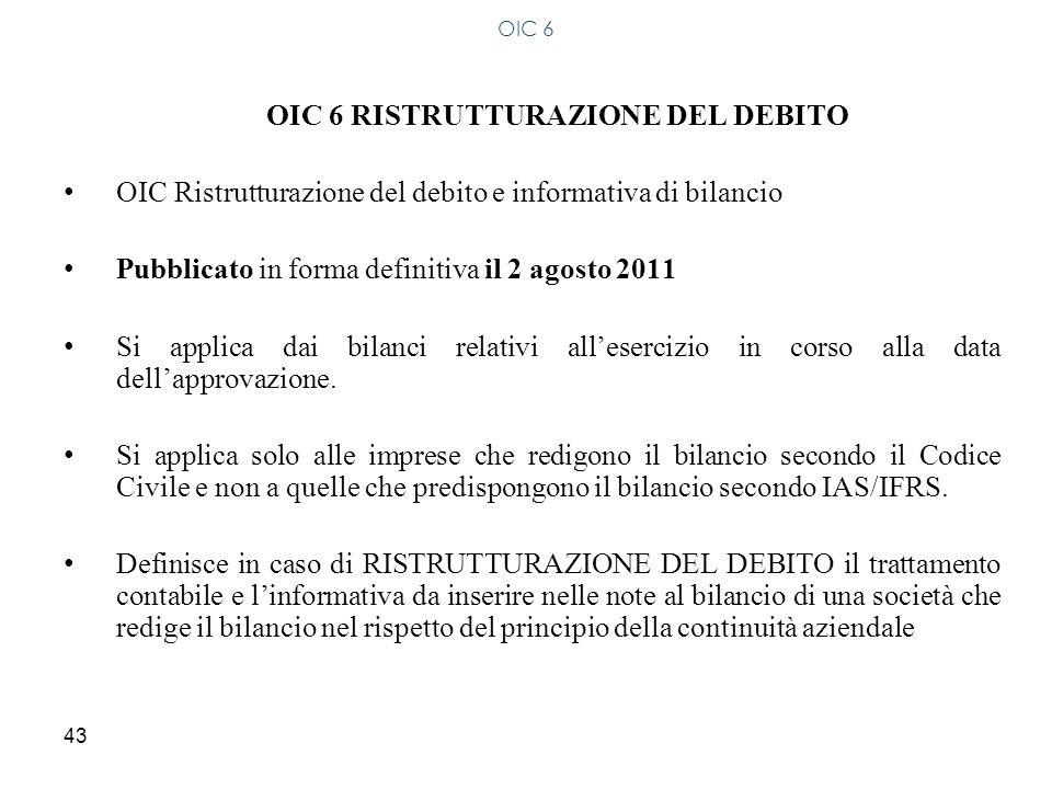 OIC 6 RISTRUTTURAZIONE DEL DEBITO