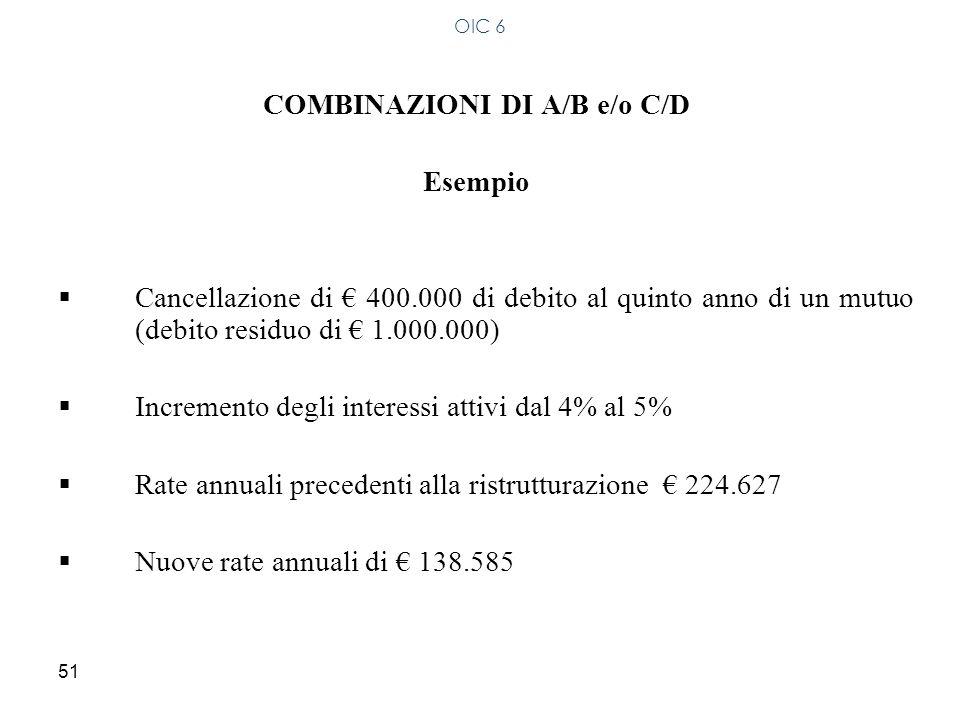 COMBINAZIONI DI A/B e/o C/D