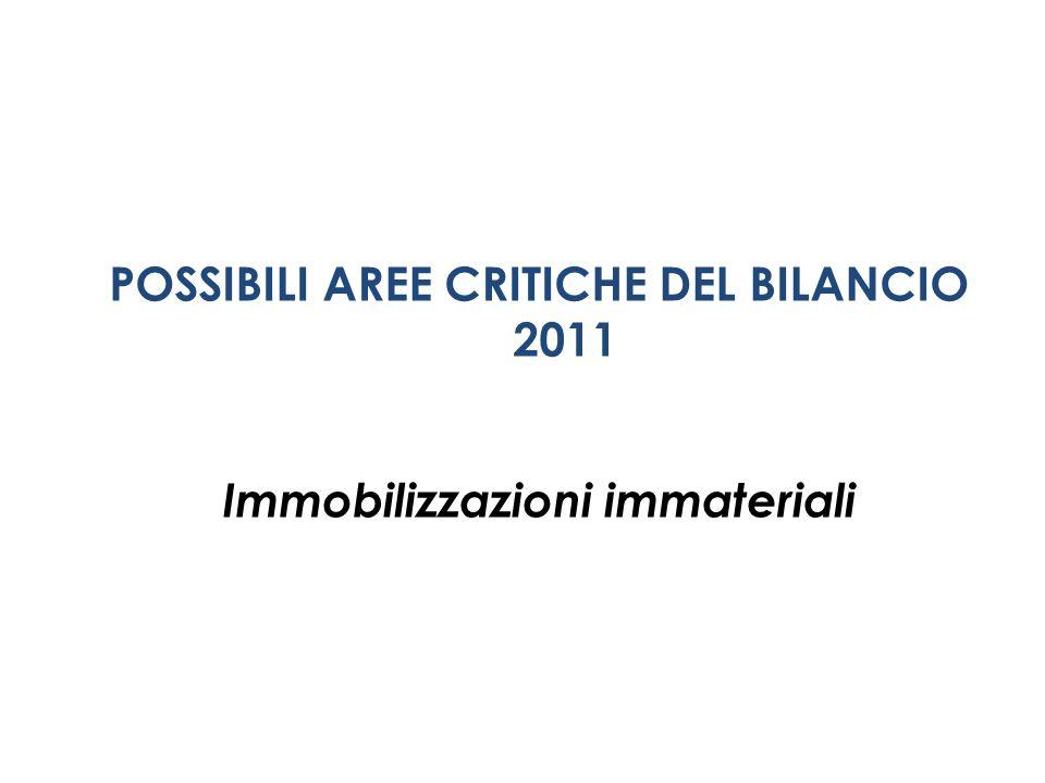 POSSIBILI AREE CRITICHE DEL BILANCIO 2011 Immobilizzazioni immateriali