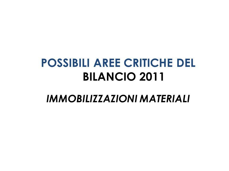 POSSIBILI AREE CRITICHE DEL BILANCIO 2011 IMMOBILIZZAZIONI MATERIALI
