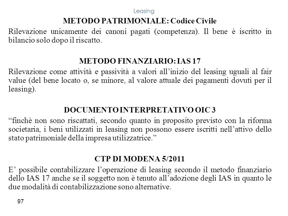 METODO PATRIMONIALE: Codice Civile
