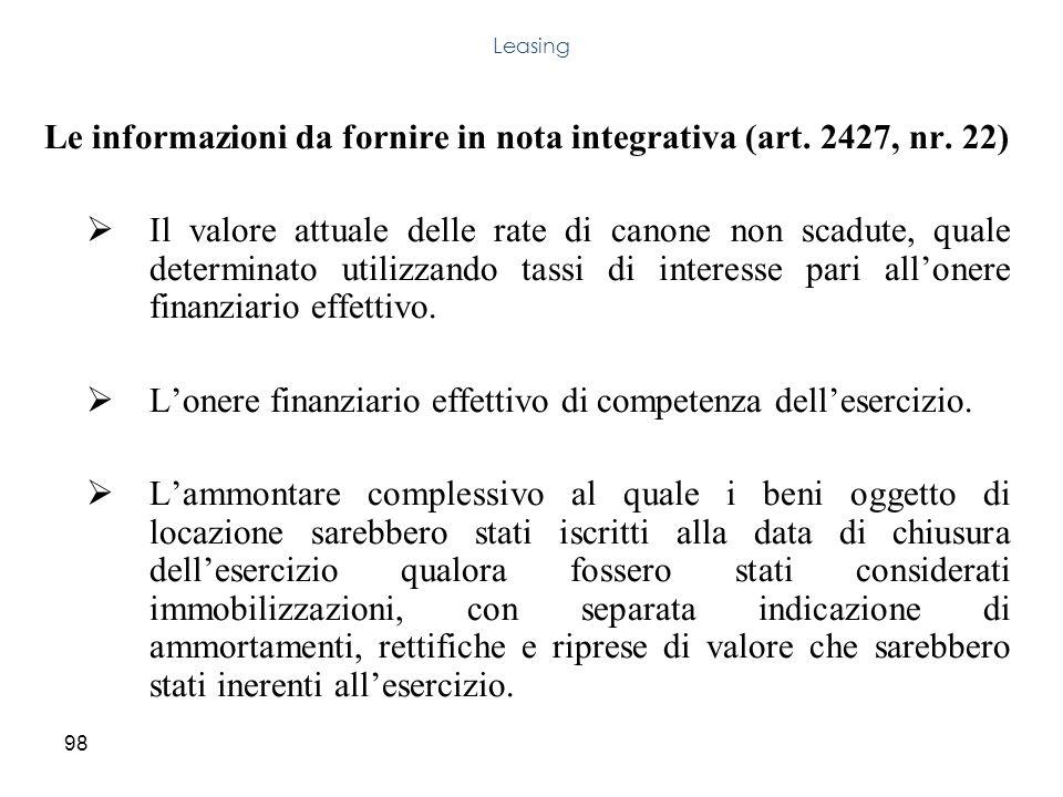 Le informazioni da fornire in nota integrativa (art. 2427, nr. 22)
