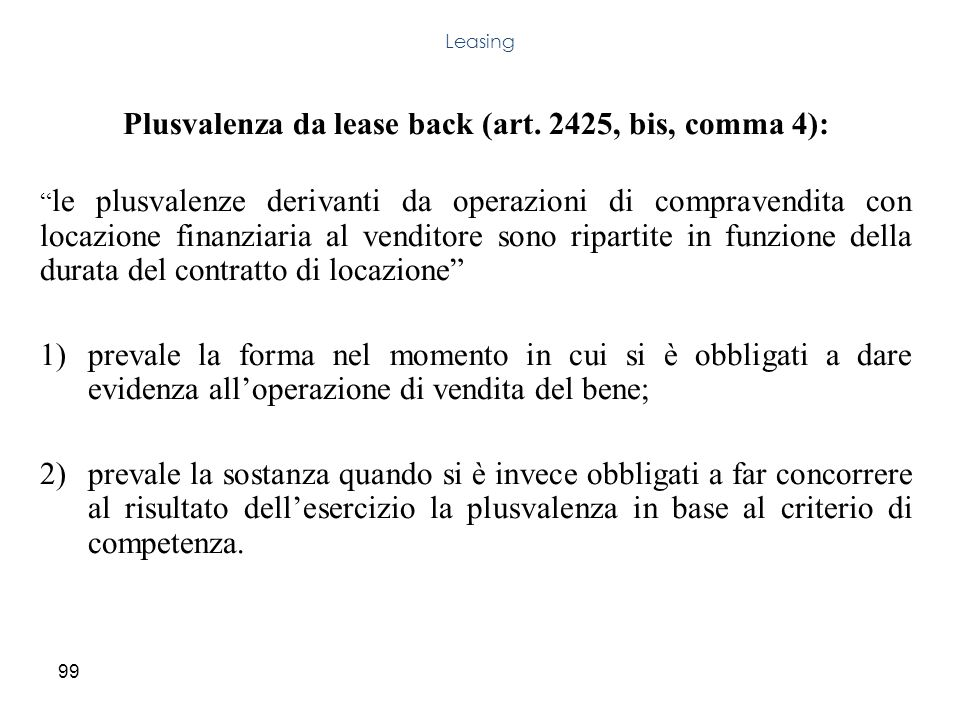 Plusvalenza da lease back (art. 2425, bis, comma 4):
