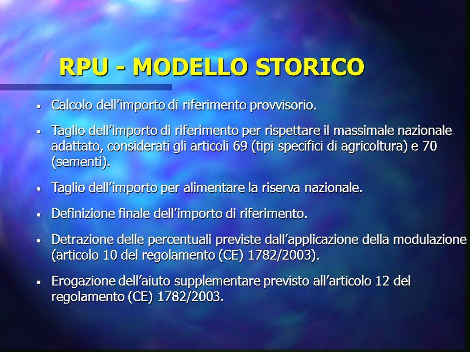RPU - MODELLO STORICO Calcolo dell'importo di riferimento provvisorio.