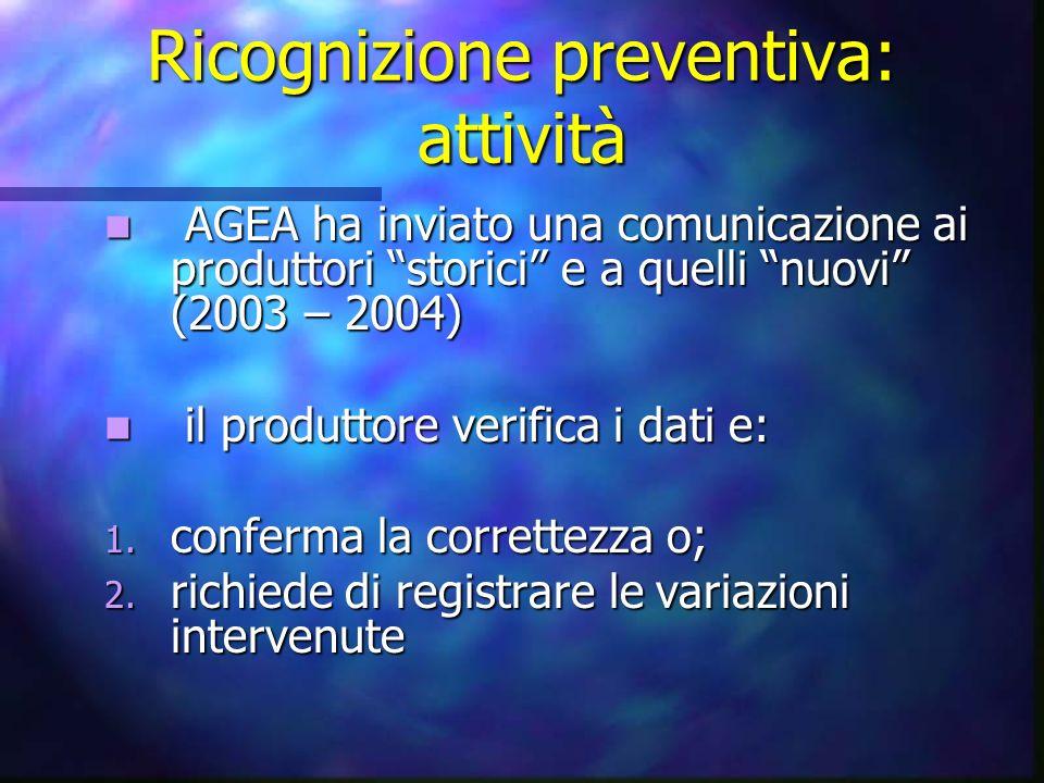 Ricognizione preventiva: attività