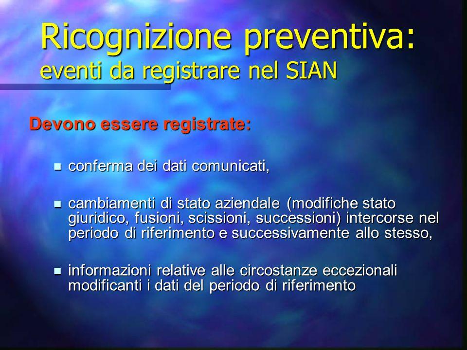 Ricognizione preventiva: eventi da registrare nel SIAN
