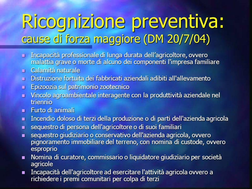 Ricognizione preventiva: cause di forza maggiore (DM 20/7/04)