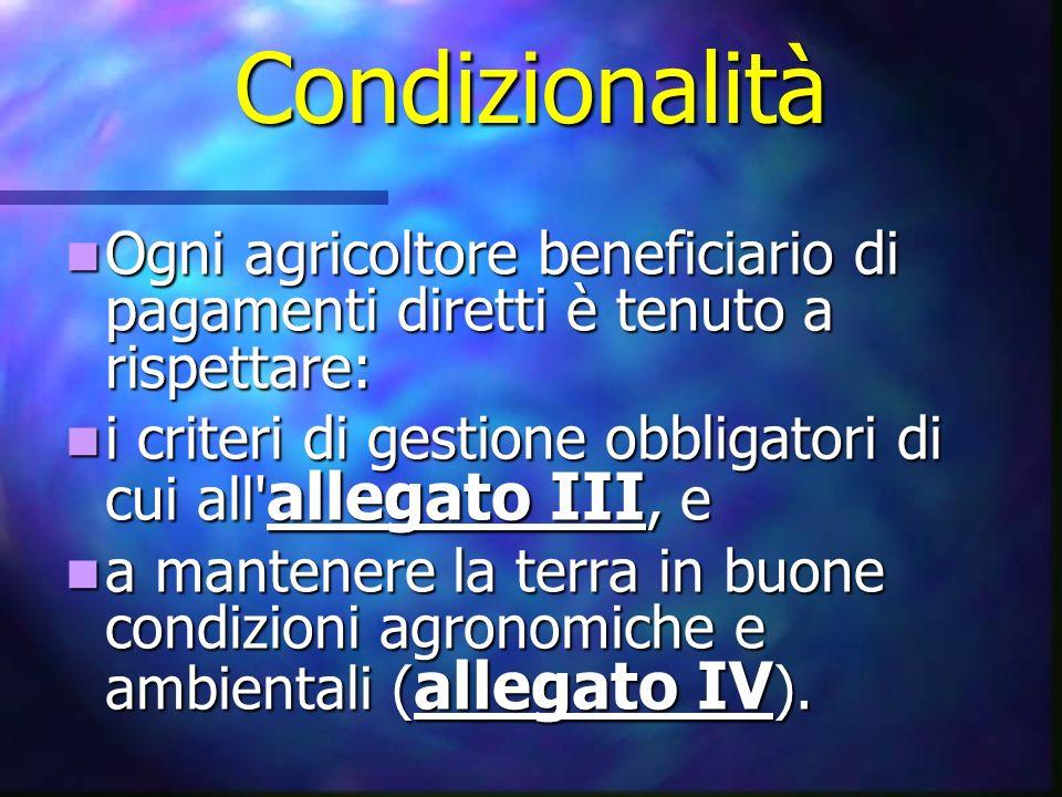 Condizionalità Ogni agricoltore beneficiario di pagamenti diretti è tenuto a rispettare: