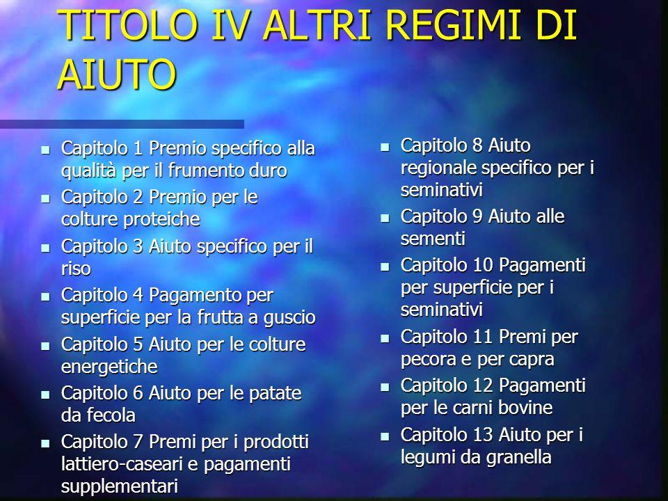 TITOLO IV ALTRI REGIMI DI AIUTO