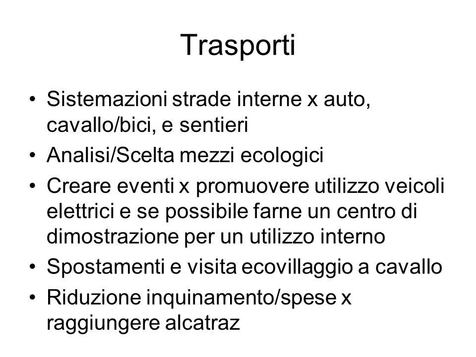 Trasporti Sistemazioni strade interne x auto, cavallo/bici, e sentieri
