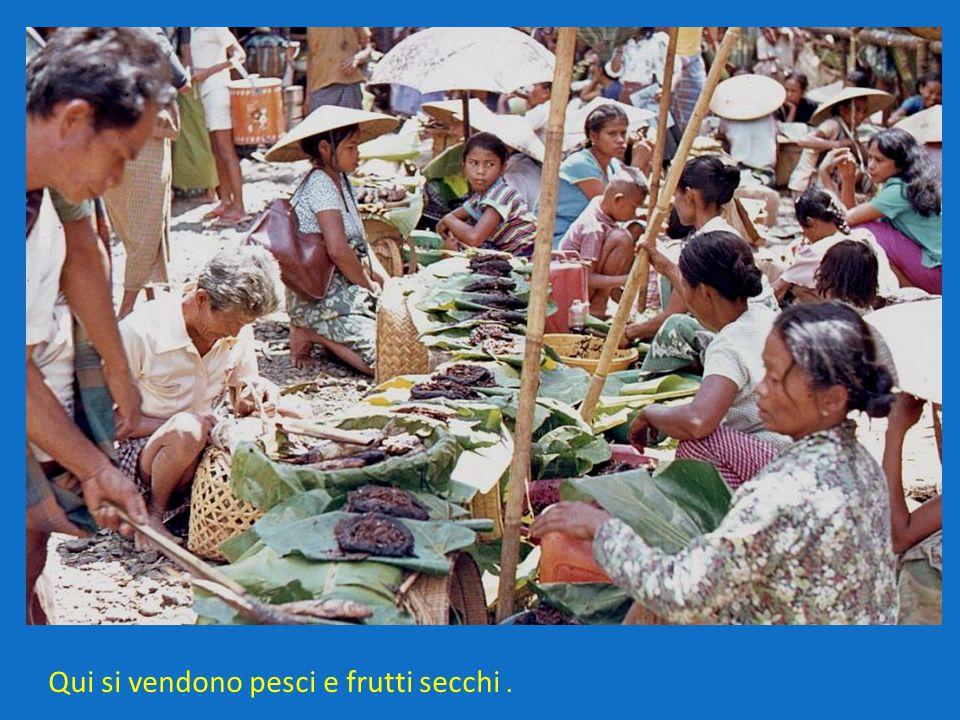 Qui si vendono pesci e frutti secchi .