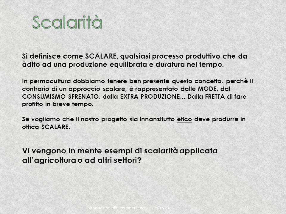 Scalarità Si definisce come SCALARE, qualsiasi processo produttivo che da àdito ad una produzione equilibrata e duratura nel tempo.
