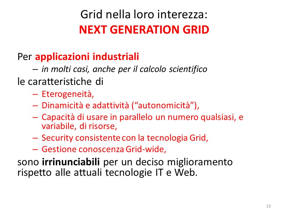 Grid nella loro interezza: NEXT GENERATION GRID