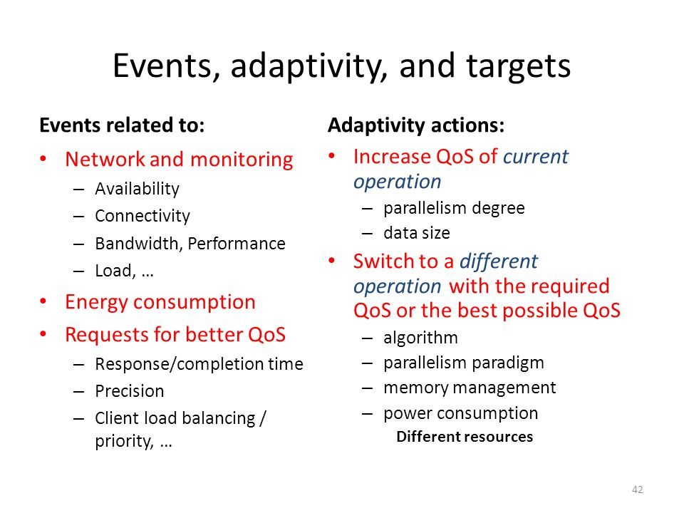Events, adaptivity, and targets