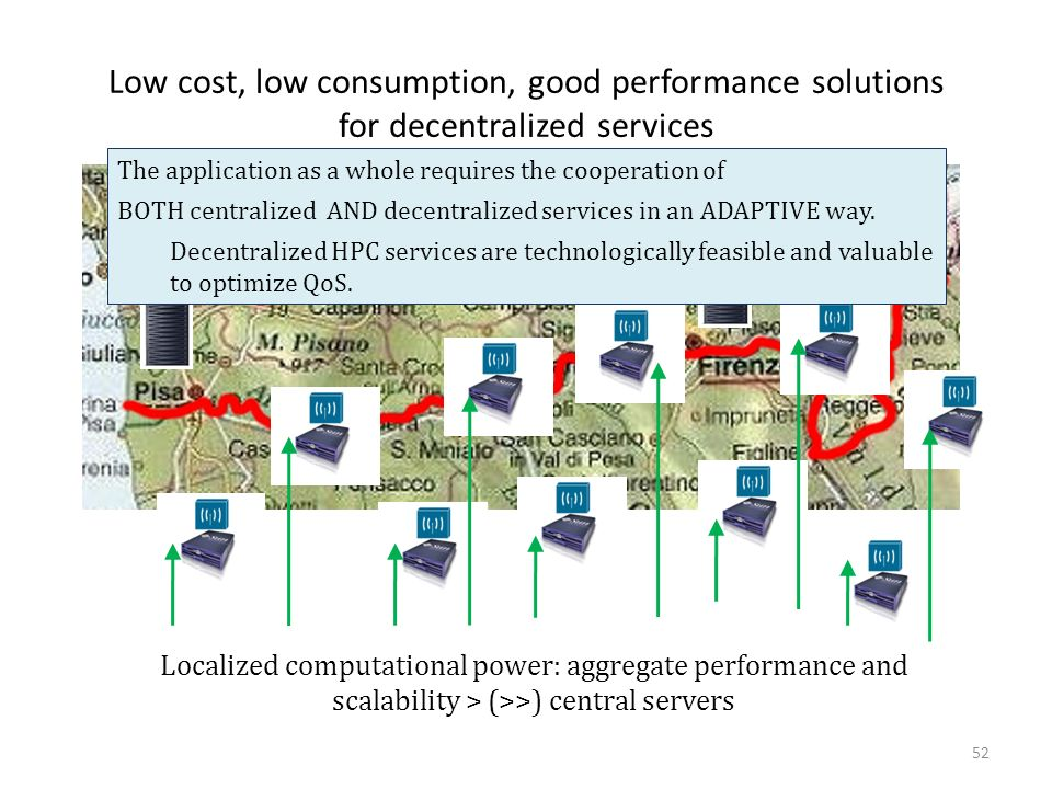 Low cost, low consumption, good performance solutions for decentralized services