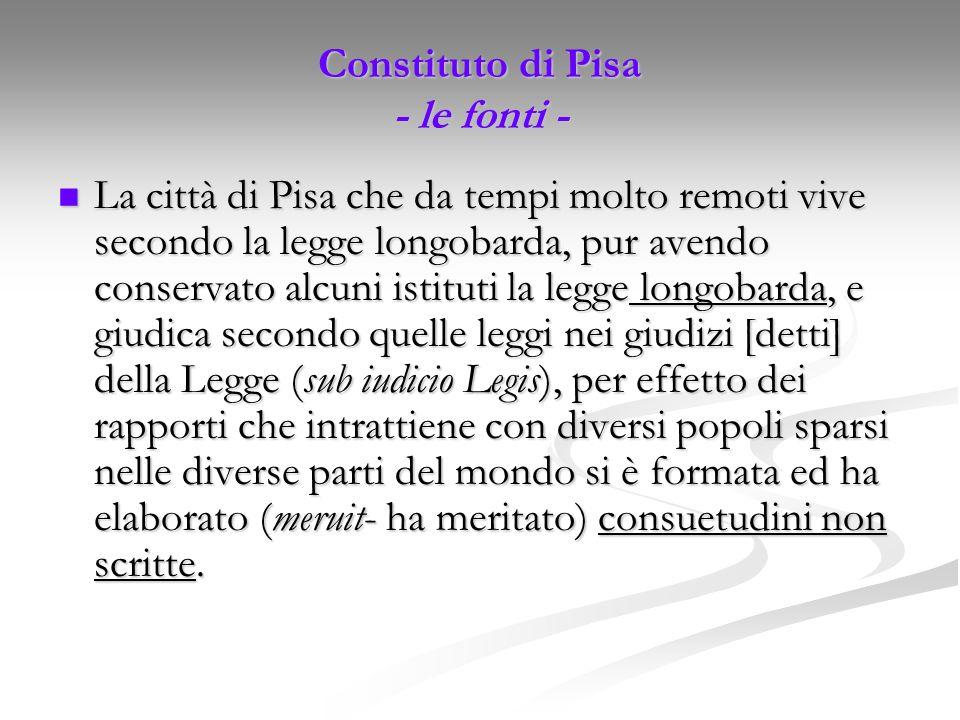 Constituto di Pisa - le fonti -