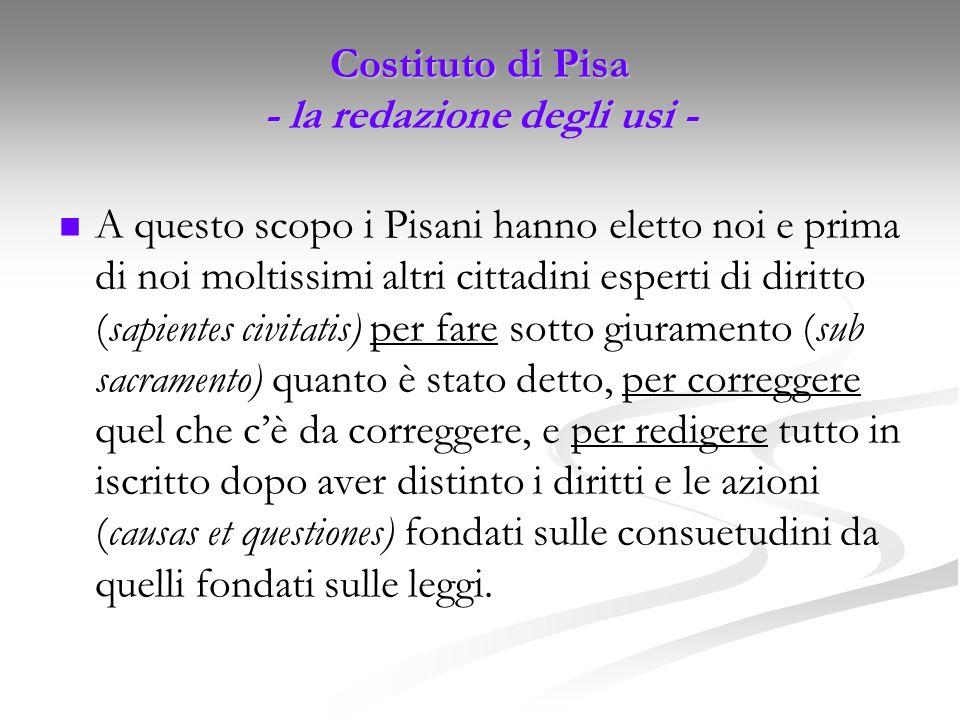 Costituto di Pisa - la redazione degli usi -