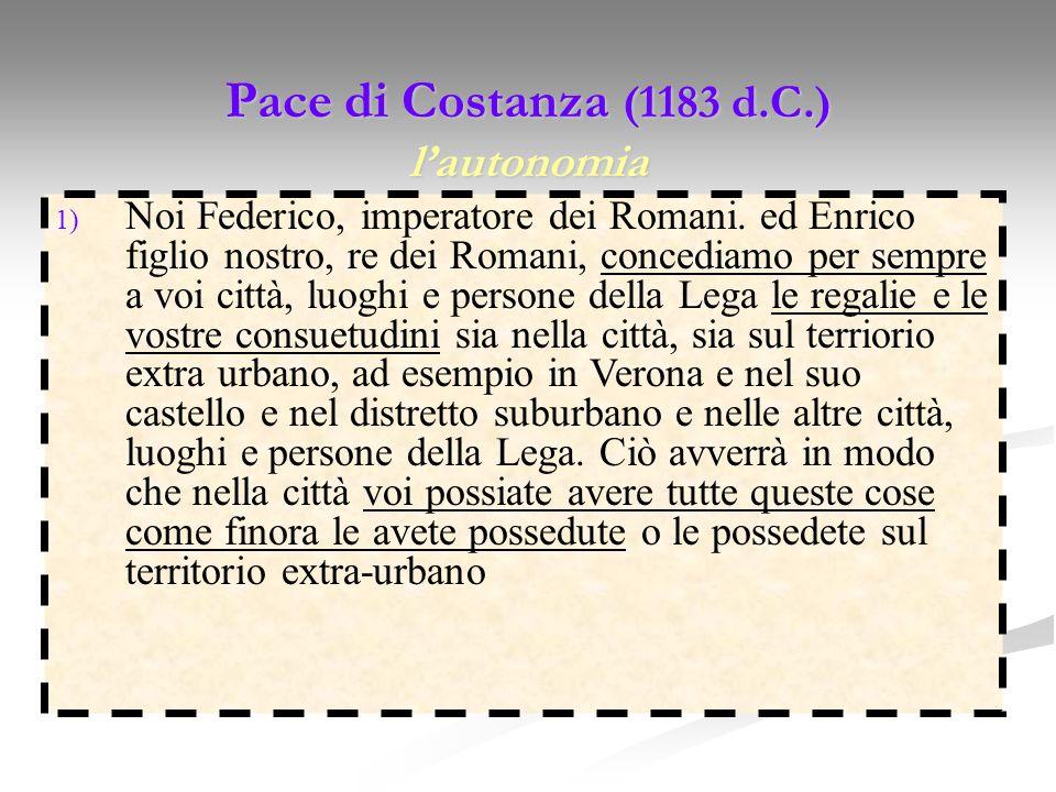 Pace di Costanza (1183 d.C.) l'autonomia