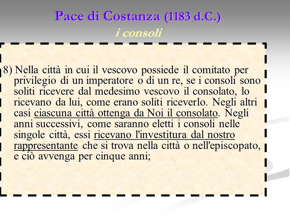 Pace di Costanza (1183 d.C.) i consoli