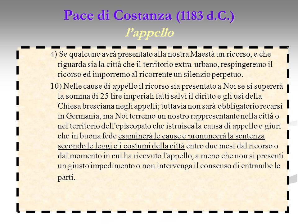 Pace di Costanza (1183 d.C.) l'appello
