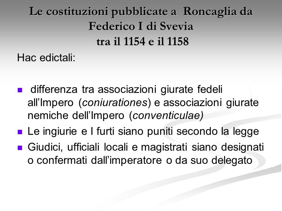 Le costituzioni pubblicate a Roncaglia da Federico I di Svevia tra il 1154 e il 1158