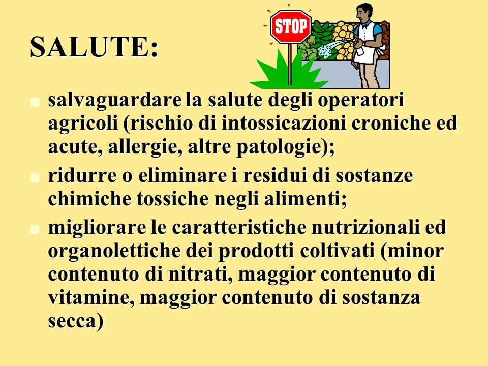 SALUTE: salvaguardare la salute degli operatori agricoli (rischio di intossicazioni croniche ed acute, allergie, altre patologie);
