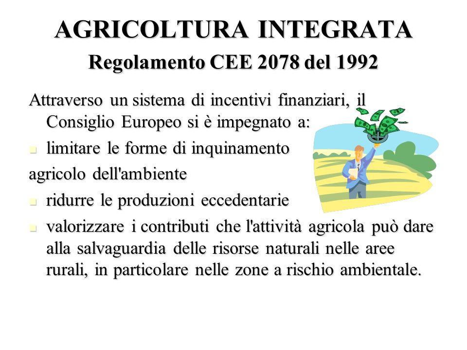 AGRICOLTURA INTEGRATA Regolamento CEE 2078 del 1992