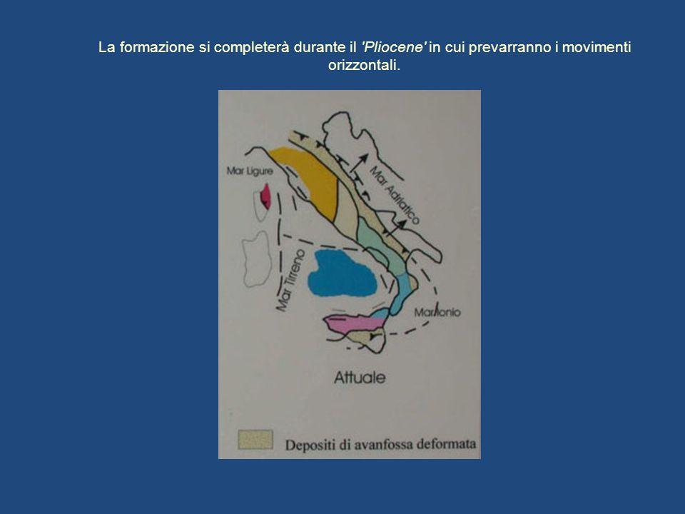 La formazione si completerà durante il Pliocene in cui prevarranno i movimenti orizzontali.