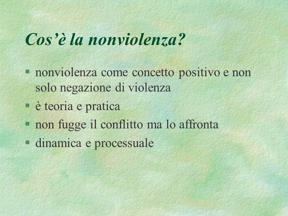 Cos'è la nonviolenza nonviolenza come concetto positivo e non solo negazione di violenza. è teoria e pratica.