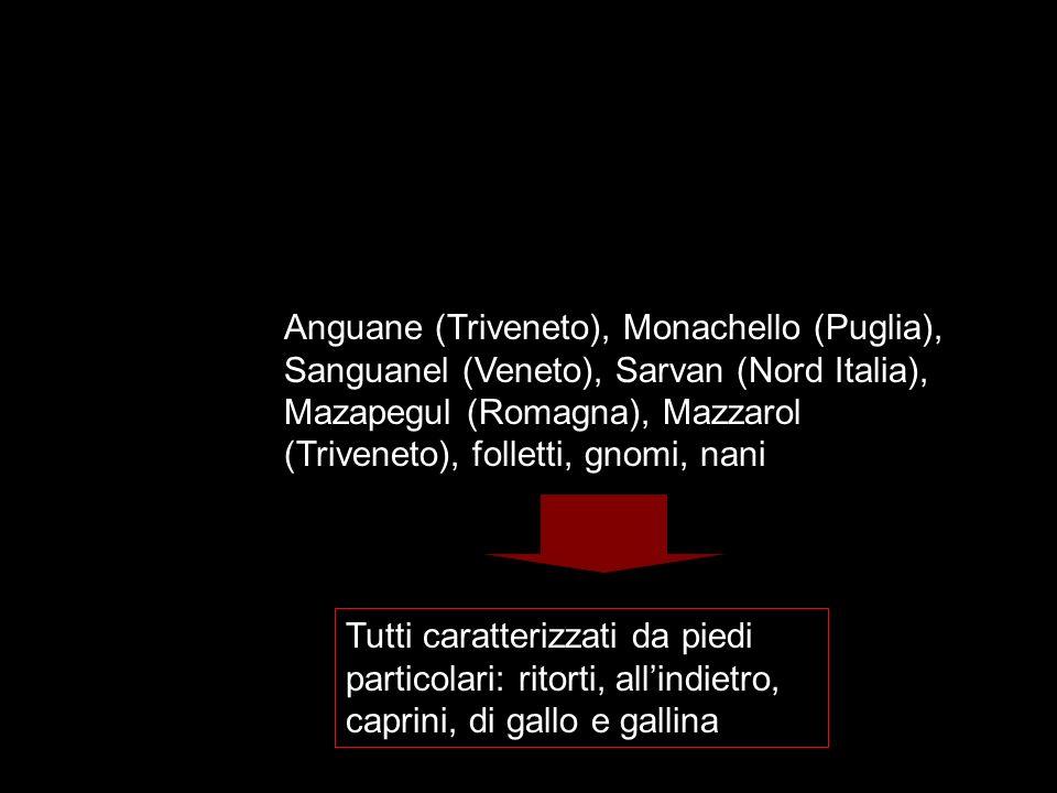 Anguane (Triveneto), Monachello (Puglia), Sanguanel (Veneto), Sarvan (Nord Italia), Mazapegul (Romagna), Mazzarol (Triveneto), folletti, gnomi, nani