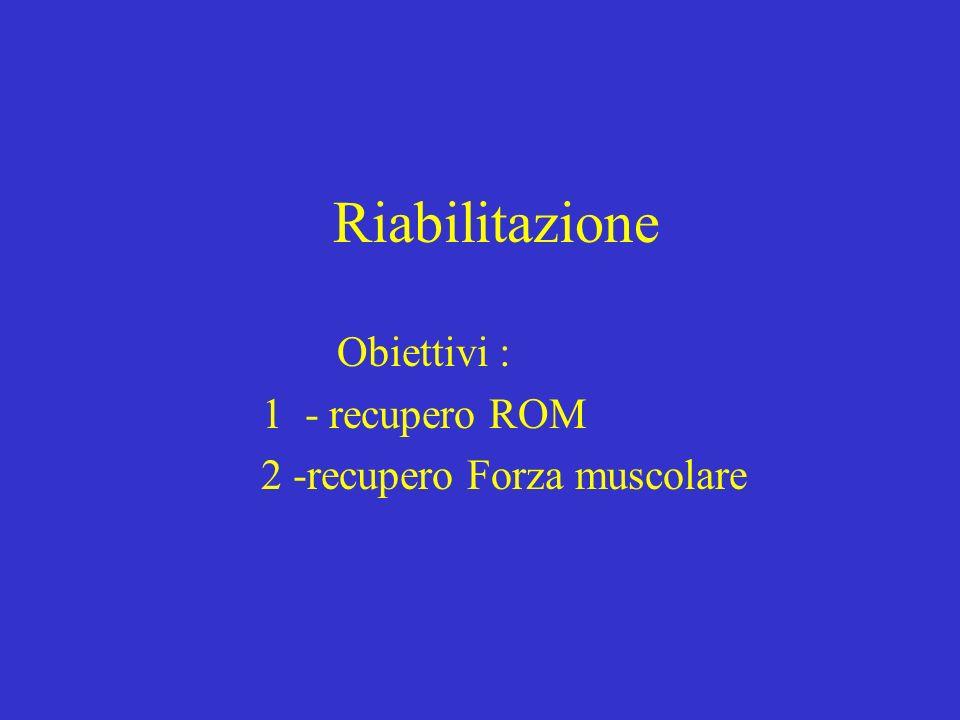 Obiettivi : 1 - recupero ROM 2 -recupero Forza muscolare