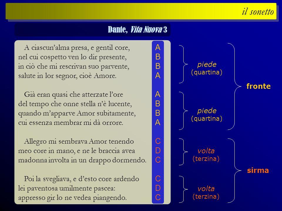 il sonetto Dante, Vita Nuova 3