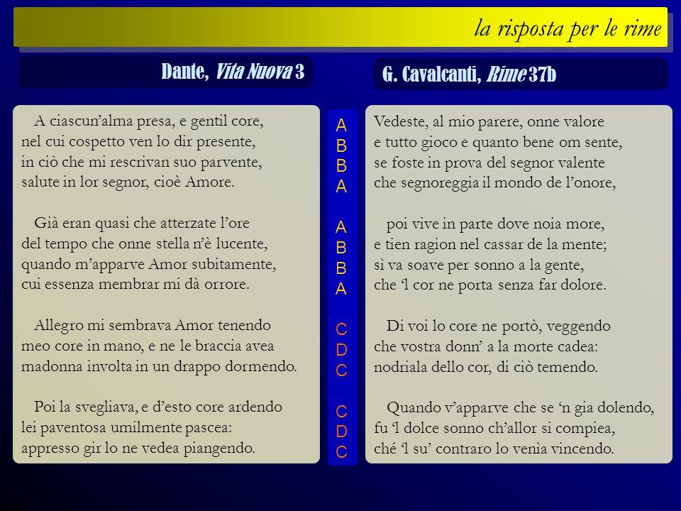 la risposta per le rime Dante, Vita Nuova 3 G. Cavalcanti, Rime 37b