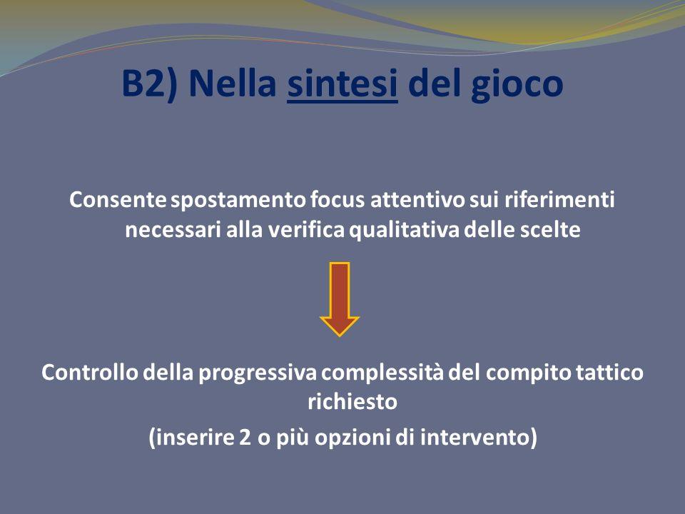 B2) Nella sintesi del gioco