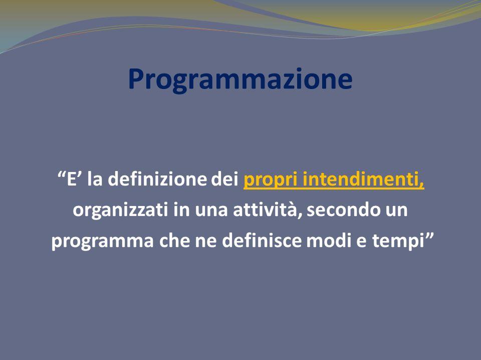 Programmazione E' la definizione dei propri intendimenti, organizzati in una attività, secondo un programma che ne definisce modi e tempi