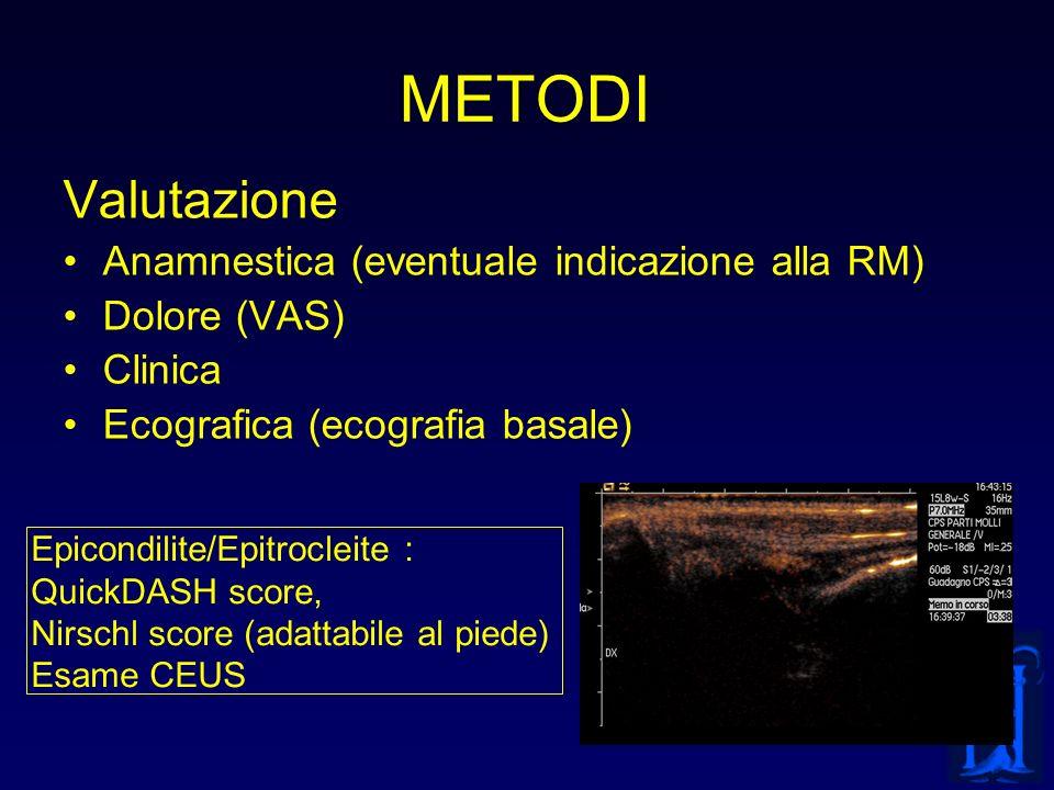 METODI Valutazione Anamnestica (eventuale indicazione alla RM)
