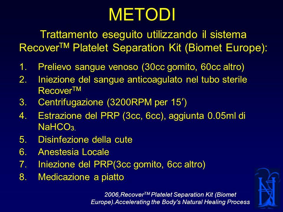 METODI Trattamento eseguito utilizzando il sistema RecoverTM Platelet Separation Kit (Biomet Europe):