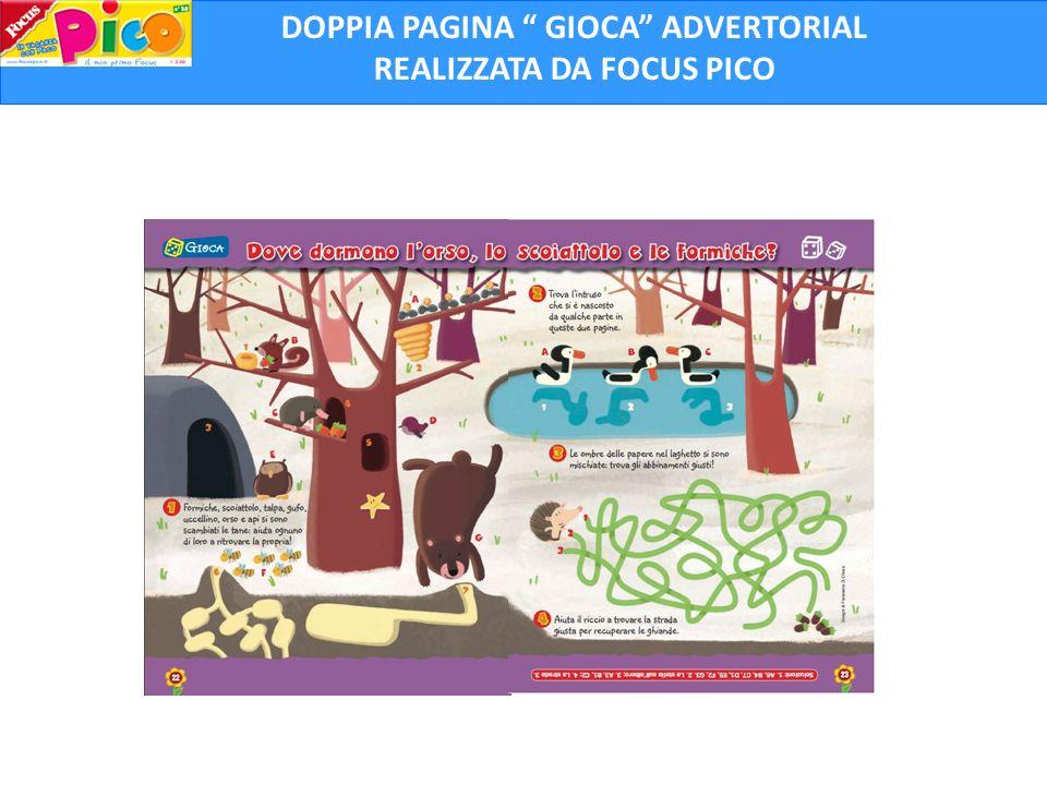 DOPPIA PAGINA GIOCA ADVERTORIAL REALIZZATA DA FOCUS PICO