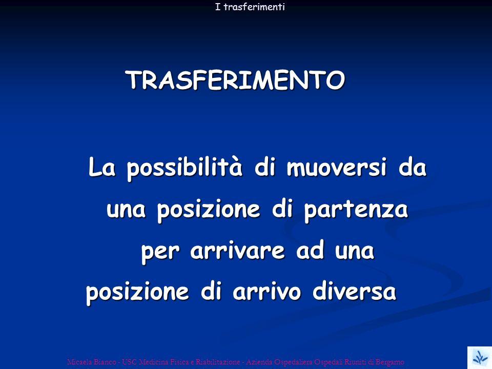 I trasferimenti TRASFERIMENTO. La possibilità di muoversi da una posizione di partenza per arrivare ad una posizione di arrivo diversa.