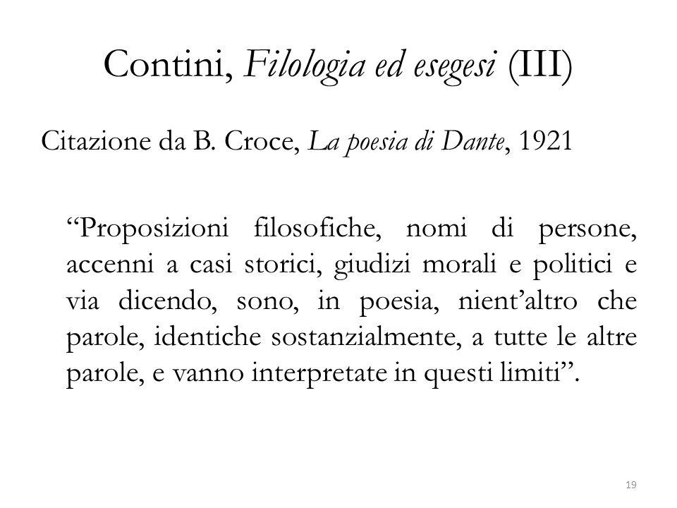 Contini, Filologia ed esegesi (III)