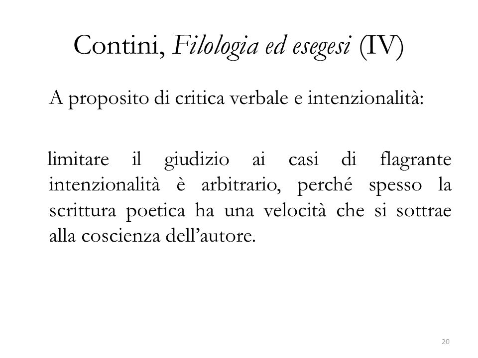 Contini, Filologia ed esegesi (IV)