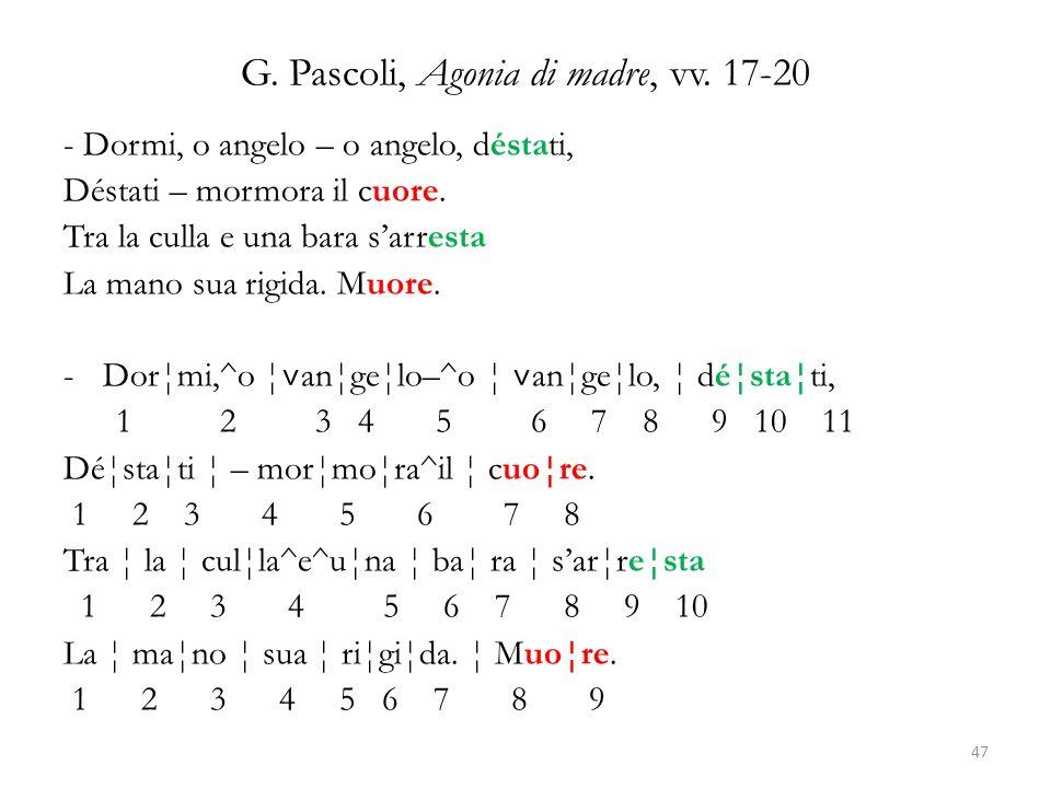 G. Pascoli, Agonia di madre, vv. 17-20