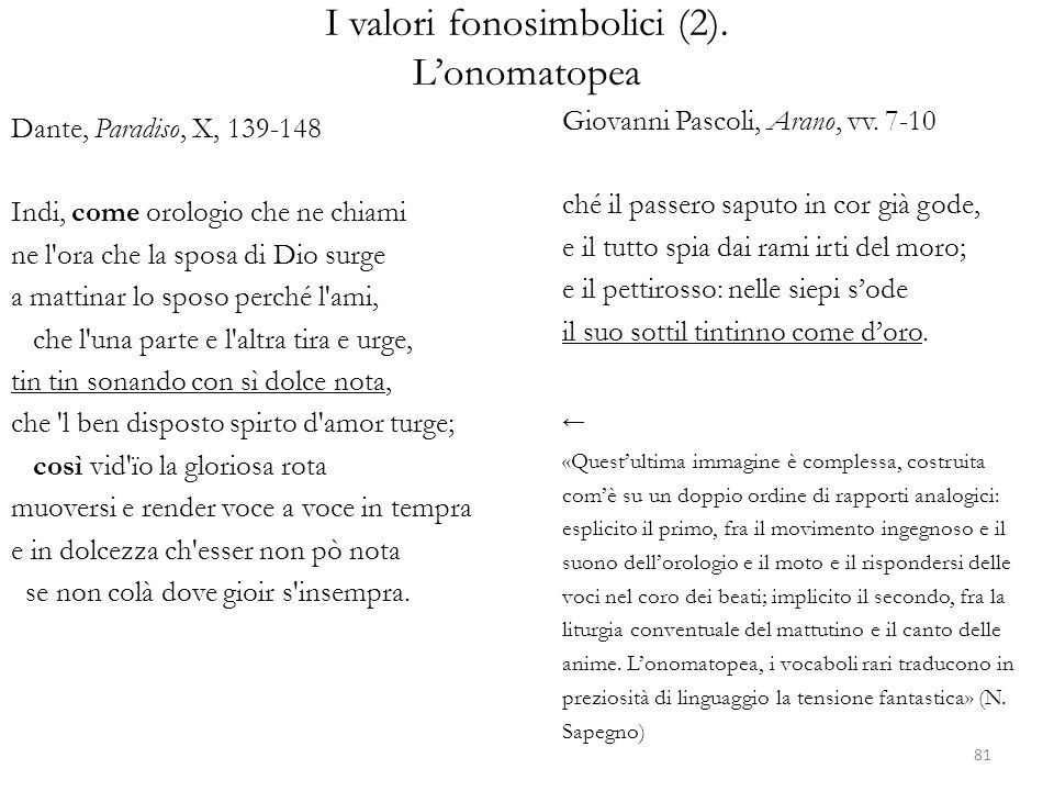 I valori fonosimbolici (2). L'onomatopea