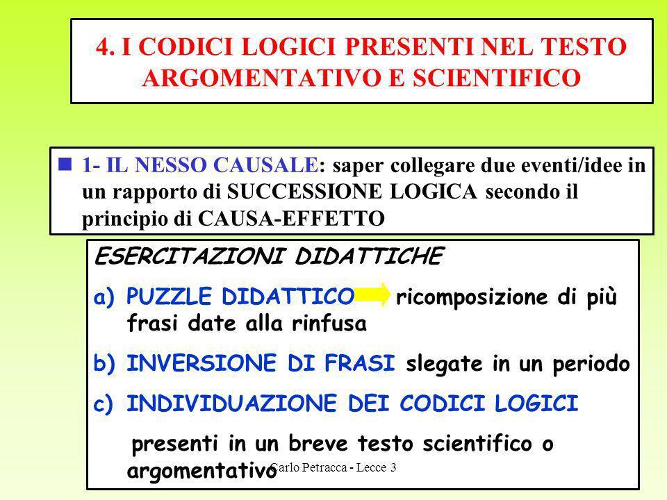 4. I CODICI LOGICI PRESENTI NEL TESTO ARGOMENTATIVO E SCIENTIFICO