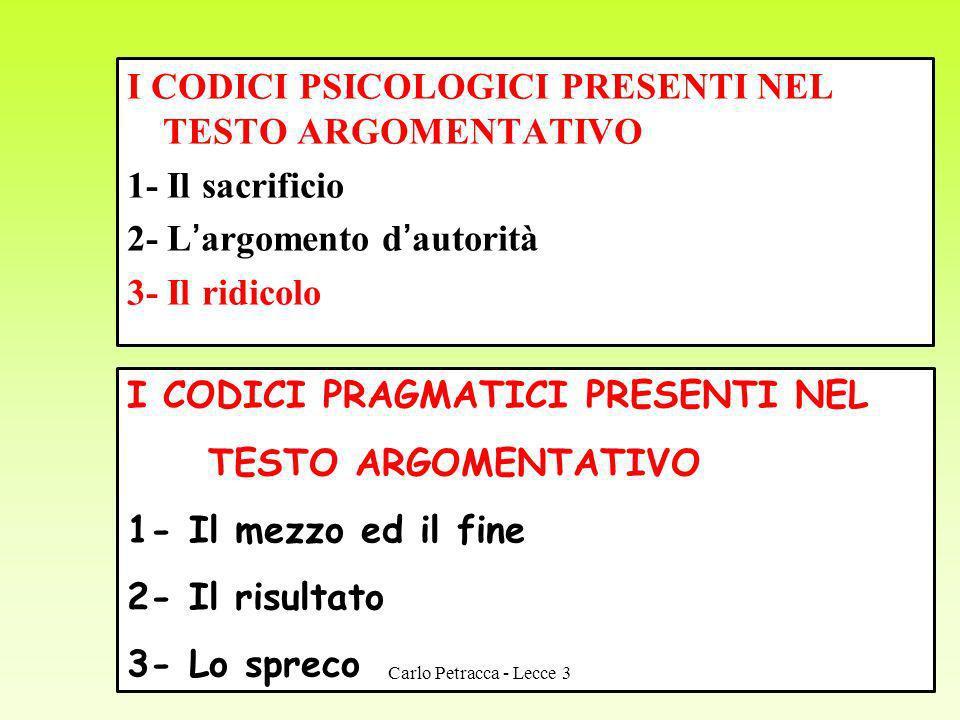 I CODICI PSICOLOGICI PRESENTI NEL TESTO ARGOMENTATIVO 1- Il sacrificio