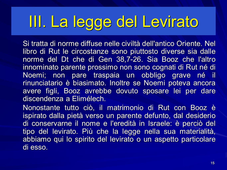 III. La legge del Levirato