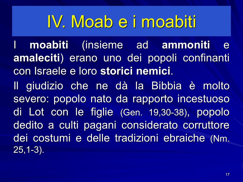 IV. Moab e i moabiti I moabiti (insieme ad ammoniti e amaleciti) erano uno dei popoli confinanti con Israele e loro storici nemici.