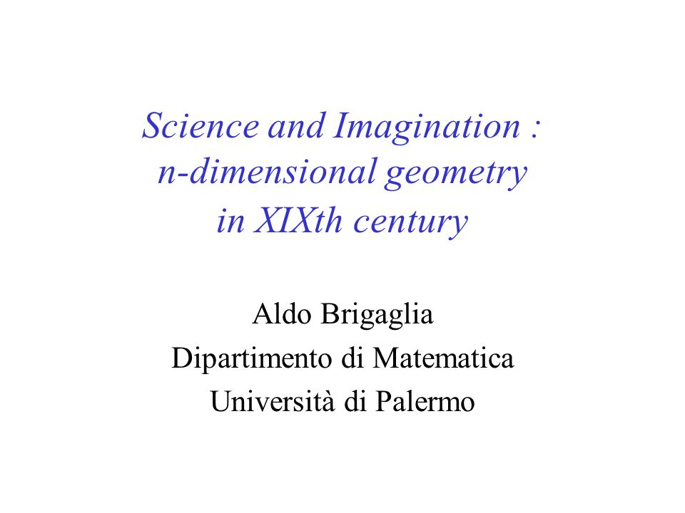 Science and Imagination : n-dimensional geometry in XIXth century