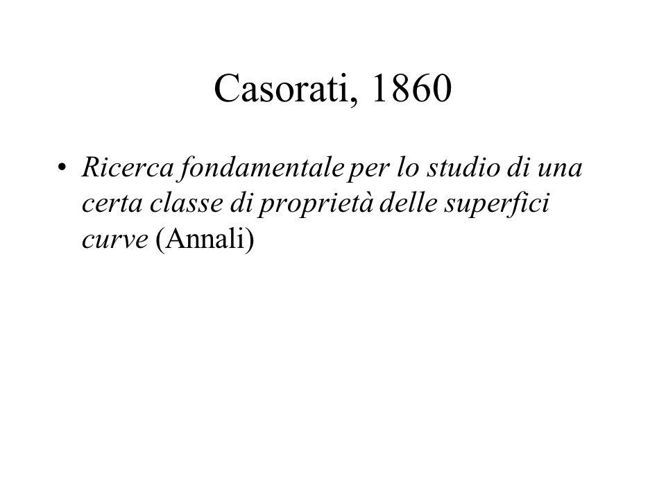Casorati, 1860 Ricerca fondamentale per lo studio di una certa classe di proprietà delle superfici curve (Annali)