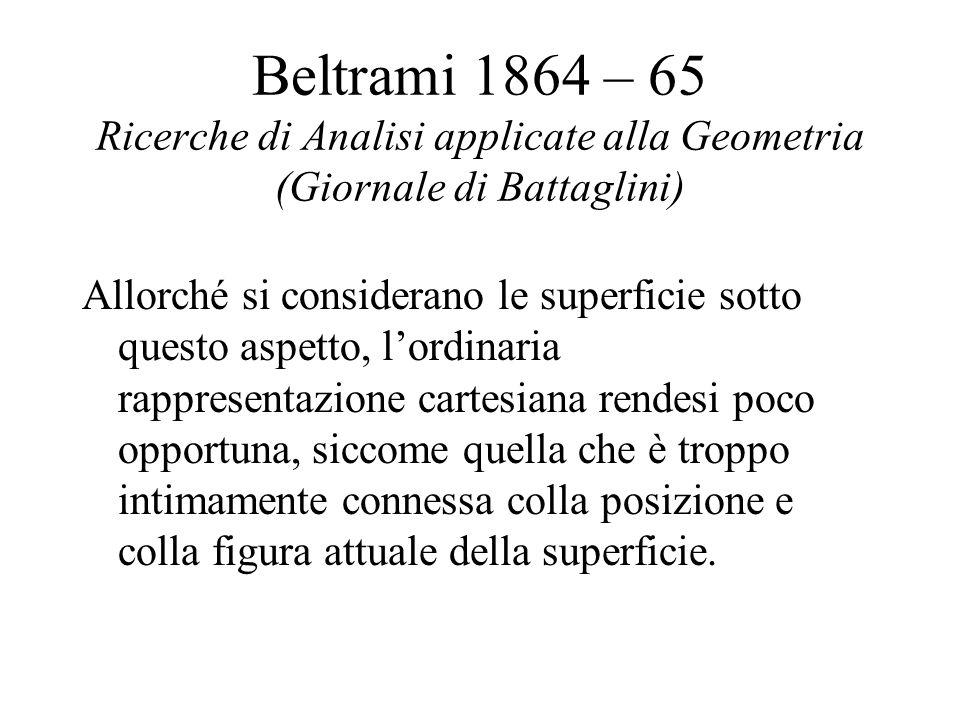 Beltrami 1864 – 65 Ricerche di Analisi applicate alla Geometria (Giornale di Battaglini)